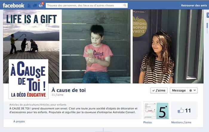page d'accueil de la page facebook enfants